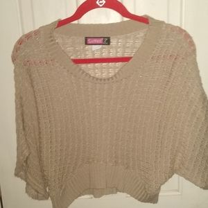 Say What? mid Drift Asymmetrical Tan Sweater M